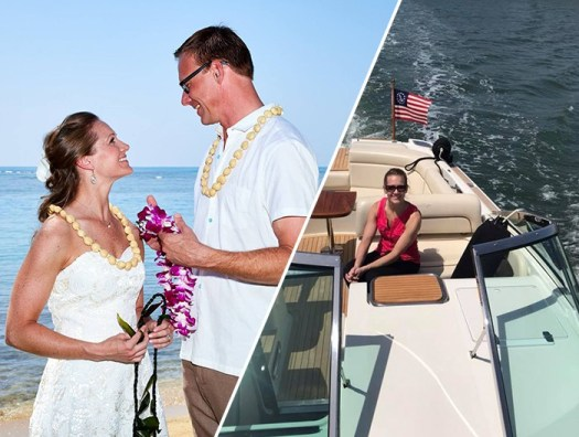 wedding and boat collage