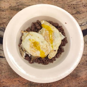 Ground beef and eggs