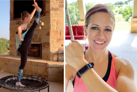 Photo collage of stephanie rebounding and showing off her step tracker watch
